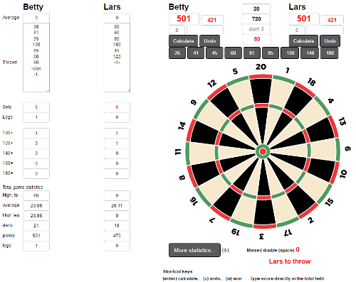 click to use the dart calculator for X01